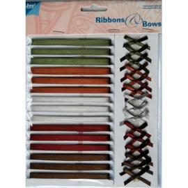 6310/0005- 15 kleuren lint van 6mm breed & 15 strikjes van 3.5cm breed in donkere kleuren