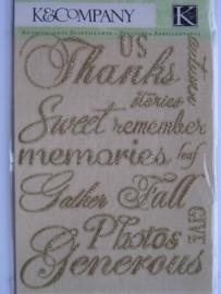 5158- K&Co 3D stickers plakletters goud met glitters diverse feest teksten