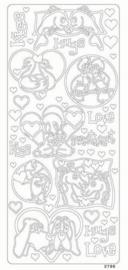 st783- stickervel met dierenvriendjes goud 10x23cm  -  121001/0288