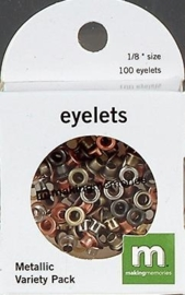 1863 1041- 100 x making M  mini eyelets assorti metallic 3.2x3.2mm