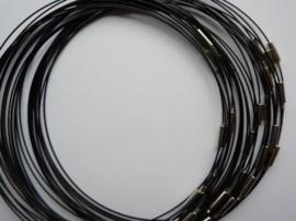 25 stuks draad colliers / staaldraad kettingen 45 cm met sluiting zwart