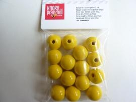 6032 052- 15 x houten kralen geel van 15mm