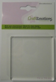 CE130501/1912- Craft Emotions acrylblok voor clearstamps 74x74mm