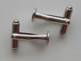 2 x manchet knopen staalplated 17x17mm met kantelclip OPRUIMING