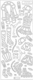st873- stickervel met dameskleding zilver 10x23cm  -  121001/0749