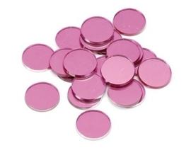 8022 074- 48 stuks decoratie spiegeltjes roze 18mm rond