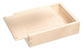 KN8735 705- 6 stuks houten kistjes met schuifdeksel 16 x 12.5 x 4,5 cm