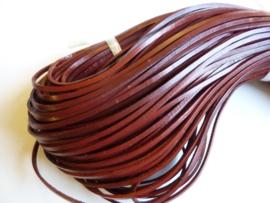 5 meter echt leren platte veter mahonie bruin van 3mm breed  - SUPERLAGE PRIJS!