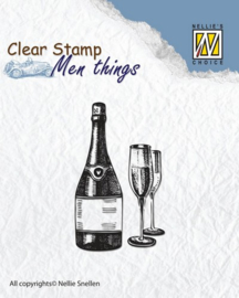CE130510/2803- Nellie's Choice clearstamp - men things wine 50x30mm