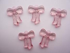 0CH.376.roze- 5 stuks strikjes babyroze 29.5x25x5mm