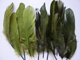 12238/3806- ca. 15 stuks ganzenveren van 12 tot 20cm lang 3 tinten groen