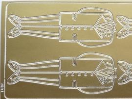 ST.1118- stickervel met smoking 4 stuks goudkleur 10x23cm