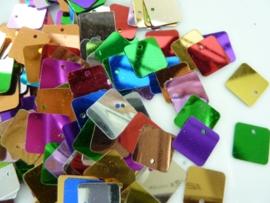 10gram vierkante pailletten van 13mm kleurenmix (grote hoeveelheid!)