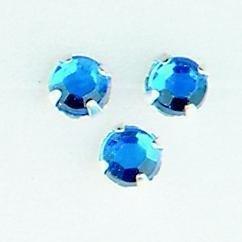 107007/0006- 12 stuks glazen rijg/naai strass steentjes 7mm rond kristal sapphire