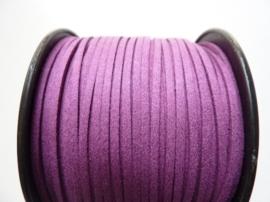 3 meter imitatie suede veter van 3mm breed violetpaars