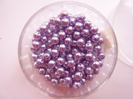 100 x ronde glasparels 4mm licht paars/lila - 2219 557