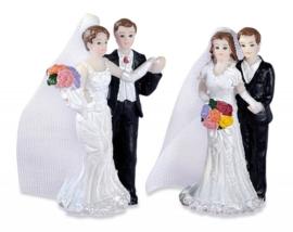 8008 020- 2 stuks bruidspaar decoratie bruid en bruidegom van 6cm