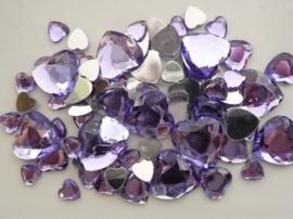 2282 0257- 80 x kunststof strass stenen assortiment hartjes van 8 tot 18mm lang lila