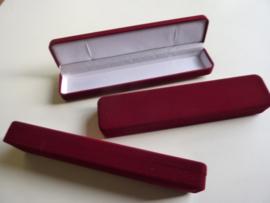 juwelendoos cadeaudoos rood velours 21x4x2.8cm - SUPERLAGE PRIJS!