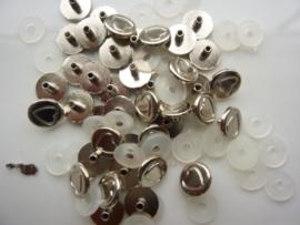 SLK206.C- 40 stuks snaps eyelets hartjes van 9mm zilver OPRUIMING