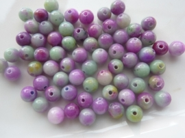 3786- 65 tot 70 stuks naturel Jade mineraal kralen van 6mm violet/groen mix