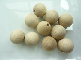 RA.6117200- 10 stuks houten ballen met half geboord gat - 19mm
