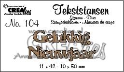 CE115634/3204- Crealies tekststans NO.104 gelukkig nieuwjaar 11x42mm
