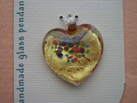 12042/4208- handgemaakte glashanger hartvorm goud met rood