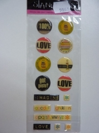 5960- Provocraft stand-outs epoxy stickers zelfklevende buttons 21x8cm OPRUIMING