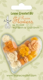 CE801100/2229- 16 stuks resin flowers roses yellow 10-18mm