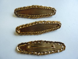 SLK.103- 3 stuks broches van 7x2cm goudkleur OPRUIMING