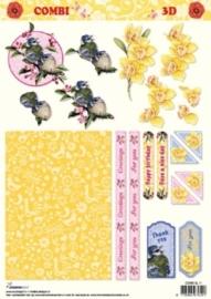kn/1983- A4 combi 3D knipvel Studio light bloemen - COMBI SL 11
