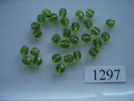 25 stuks tsjechische kristal facet geslepen glaskralen mosgroen 6x5mm 1297