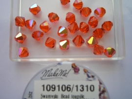 109106/1310- 25 x swarovski 6mm hyacinth met AB coating