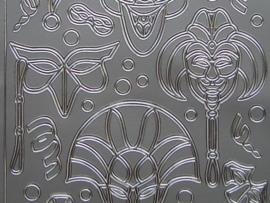 st 396- maskers zilver 10x20cm