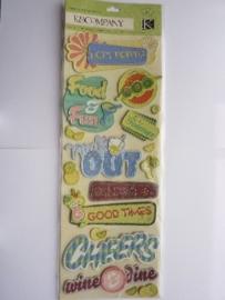 "5598- K&Co grand adh. chipboard 3D stickers ""feest teksten"" 30x12cm"