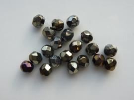 1334- 20 stuks geslepen glaskralen van 6mm antraciet/bronskleur