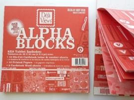 05973- 24 vel Alpha-blocks stansvellen en deco rood 20x20cm OPRUIMING
