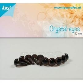 Joy6300/0606- 10 stuks kristal ogen 10mm bruin