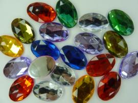 20 stuks kunststof strass stenen van 30 x 20 mm. ovaal kleurenmix