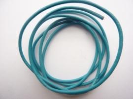1 meter echt leren veter aqua blauw van 2mm dik - AA kwaliteit - SUPERLAGE PRIJS!