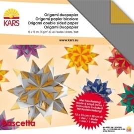 1858 5210- 30 vel origami bascetta papier 2-zijdig gekleurd zilver/goud 15x15cm