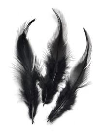 006621/0619- 16 stuks hanenveren van 6 - 10cm zwart