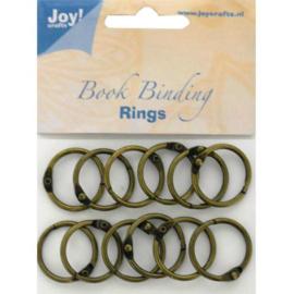 JOY6200/0131- 12 stuks boekbinders-ringen van 25mm brons