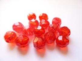 00096- 25 stuks kunststof kralen van 9mm transparant rood OPRUIMING