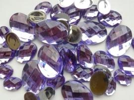 2282 0357- 43 x kunststof strass stenen assortiment ovaal van 15 tot 27mm lang lila