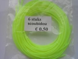 203 - Scoubidou touwtjes 6 stuks neon geel
