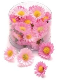 6529 785- 40 stuks decoratie bloemen margrietjes van 2.5 tot 3cm roze