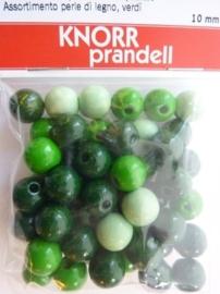 6013 009 - 50 stuks 10 mm. houten kralen donker groen mix