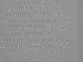 st 145- gelukkig nieuwjaar wit 10x20cm